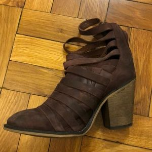 Free People Leather Eggplant colored booties